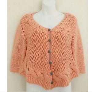 Free People Peach chunky knit cardigan sweater